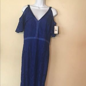 NWT, Adrianna Papell Blue Lace Long Gown - Size 10